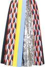 EMILIO PUCCI Lamé-paneled printed crepe midi skirt