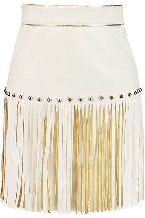 JUST CAVALLI Fringed leather mini skirt