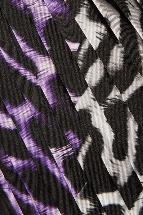 JUST CAVALLI Pleated leopard-print twill skirt