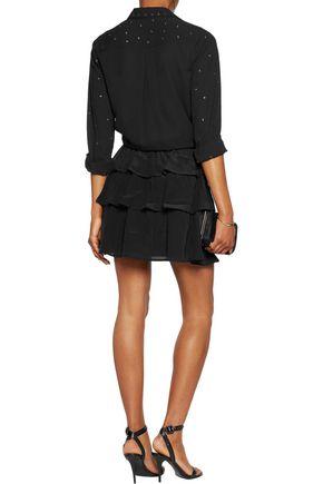 JUST CAVALLI Tiered washed-silk mini skirt