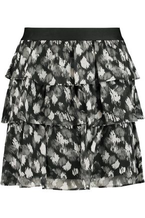 JUST CAVALLI Tiered printed silk-chiffon mini skirt