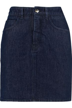 MM6 by MAISON MARGIELA Satin-paneled denim mini skirt