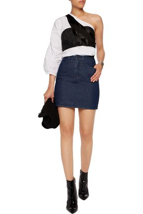MM6 MAISON MARGIELA Satin-paneled denim mini skirt