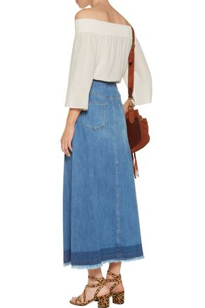 SEE BY CHLOÉ Frayed pleated denim maxi skirt