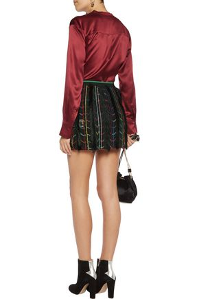 MISSONI Fringed metallic silk-blend crochet-knit mini skirt