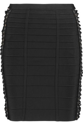 HERVÉ LÉGER BY MAX AZRIA Lace-up bandage mini skirt