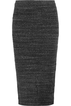 MONROW Ribbed stretch-knit midi skirt