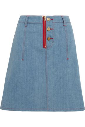 HOUSE OF HOLLAND + Lee appliquéd denim mini skirt