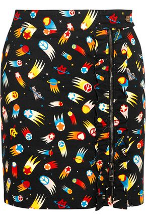 LOVE MOSCHINO Printed cotton-blend twill mini skirt