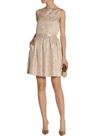 ROCHAS Swan pleated metallic brocade skirt