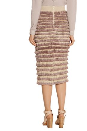 BURBERRY Fringed knitted cotton-blend midi skirt