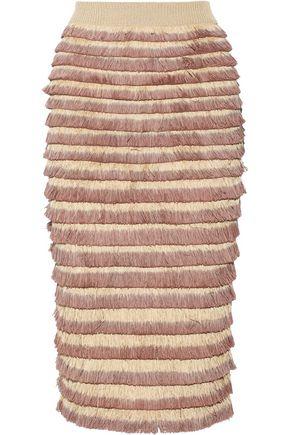 BURBERRY Fringed cotton-blend midi skirt