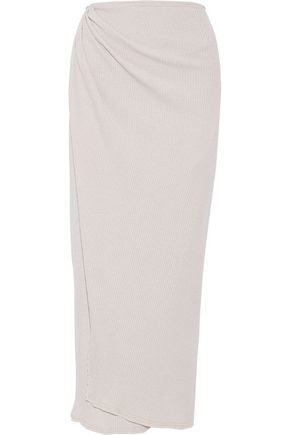 BAJA EAST Wrap-effect metallic ribbed merino wool-blend maxi skirt