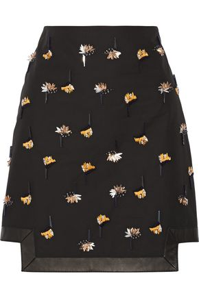 FENDI Leather-trimmed embellished cotton-poplin skirt