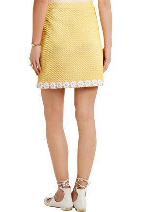 BOUTIQUE MOSCHINO Appliquéd honeycomb-knit mini skirt
