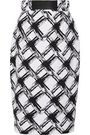 RAOUL Printed ramie and cotton-blend pencil skirt