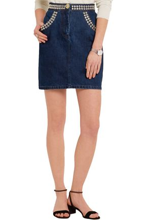 MIU MIU Studded denim mini skirt
