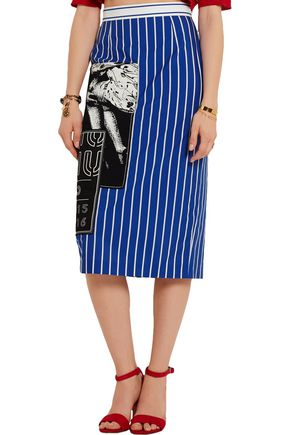 MIU MIU Appliquéd striped cotton-poplin pencil skirt