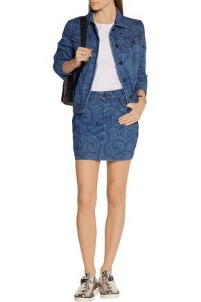 SIBLING Printed denim mini skirt