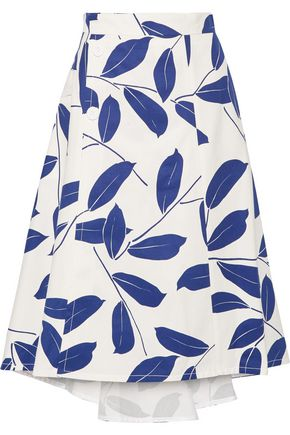 MARNI Printed cotton and linen-blend drill skirt