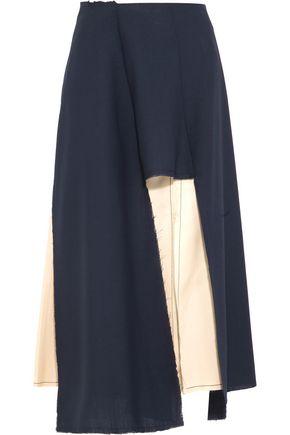 MARNI Cutout wool-blend and satin skirt