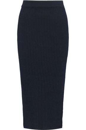 IRIS AND INK Ribbed cashmere midi skirt