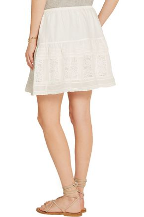 THE GREAT. Jubilee lace-paneled cotton-voile mini skirt