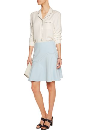 RAOUL Fluted ponte mini skirt
