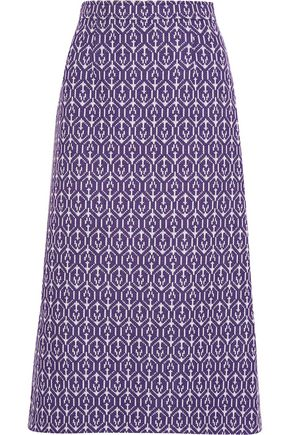 MIU MIU Wool and cotton-blend jacquard pencil skirt