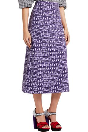 MIU MIU Wool and cotton-blend jacquard pencil skirt