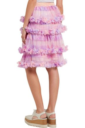 RYAN LO Tiered sequined tulle skirt