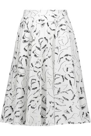 RAOUL Ivy pleated printed cotton-blend skirt