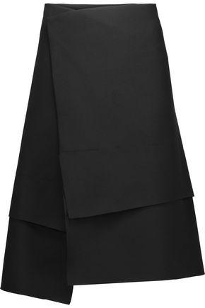 JIL SANDER Layered asymmetric crepe skirt