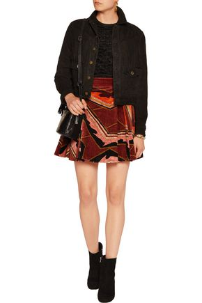 JUST CAVALLI Pleated velvet mini skirt