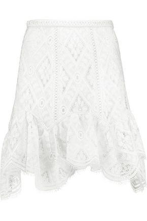 ALEXIS Milouv ruffled crocheted lace mini skirt