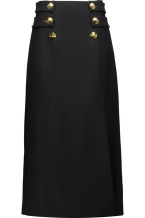 ROBERTO CAVALLI Studded wool-crepe midi skirt