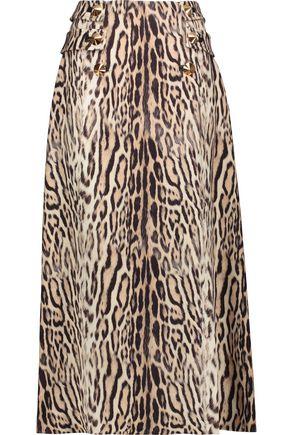 ROBERTO CAVALLI Studded leopard-print wool-crepe midi skirt