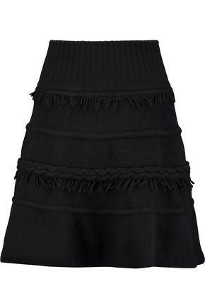 AGNONA Fringe-trimmed wool and cashmere-blend mini skirt