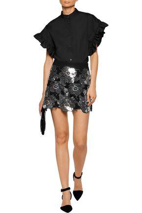 GOEN.J Metallic sequined crepe skirt
