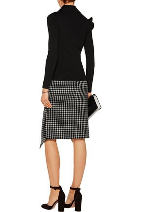 RAOUL Asymmetric appliquéd checked wool-blend skirt