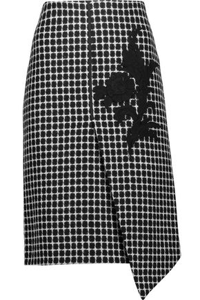 RAOUL Asymmetric appliquéd checked wool-blend skirt
