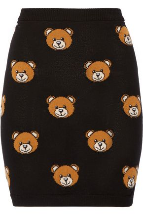 MOSCHINO Bear-intarsia wool mini skirt