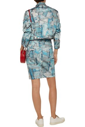 MOSCHINO Patchwork-effect printed stretch-denim skirt