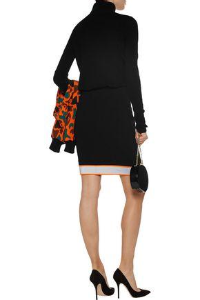 MOSCHINO Metallic and neon-trimmed crepe mini skirt