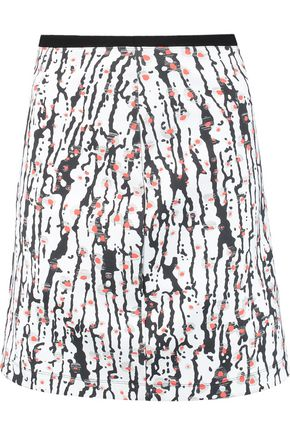 CARVEN Printed neoprene mini skirt