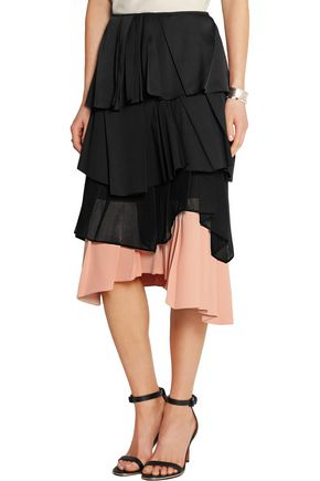 CEDRIC CHARLIER Pleated satin, cotton-blend poplin, mesh and crepe skirt