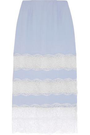 WES GORDON Lace-paneled crepe midi skirt