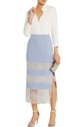 WES GORDON Lace-paneled crepe midi skirt