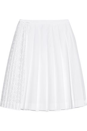 N° 21 San Gallo lace-paneled cotton-poplin skirt