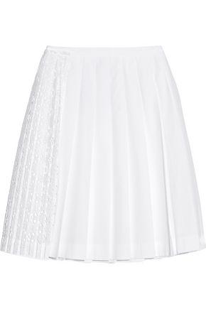 N° 21 San Gallo lace-paneled cotton-poplin skirt